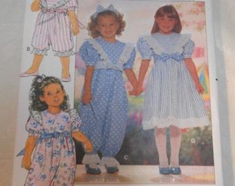 Vintage PATTERN Butterick 5285 Girls' Toddler Children's Dress, Jumpsuit and Headband Size 1-2-3