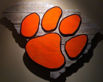 Wooden State of South Carolina with Clemson logo
