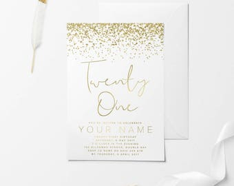 White Gold Printable Birthday Invitation, Custom Printable Invitation, 30th Birthday, 21st Birthday, 18th Birthday, DIY Birthday Invitation