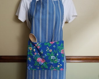 Apron, Full Apron, Blue Apron, Handmade Apron, Cooking Apron, Chef Apron, Gift for Cook, Bib Apron, Womans Apron, Apron with pocket