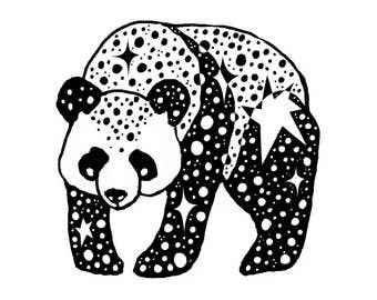 Panda Drawing Digital Art Print