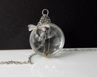 Dandelion necklace Real dandelion jewelry Dandelion seed Christmas gift for her Terrarium necklace Make a wish necklace Resin pendant Charm