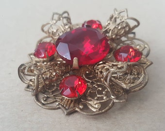 Vintage Czech Brooch Ruby Red Large Statement Czech Glass Bohemian Foil Backed Prong Set Gold Tone Filigree Brooch