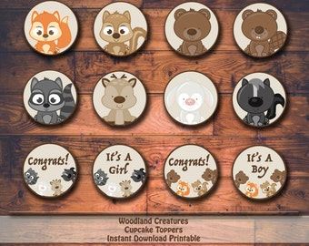 Woodland Creatures Baby Shower or Birthday Printable Cupcake Toppers