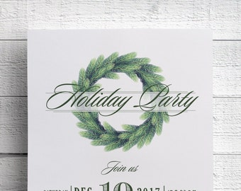 Christmas Party Invitation, Holiday Party, Company Party, Wreath Invitation, Christmas Wreath, Cocktail Party, Christmas 2017