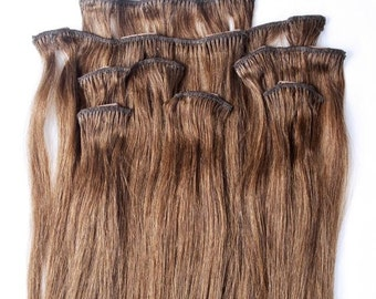 22 inches 7pcs Clip In Human Hair Extensions 6 Medium Chestnut Brown