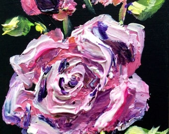 Rose painting flowers still life original floral painting 6 x 4""