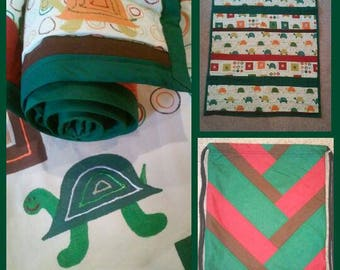 Green Turtle Baby Quilt Set