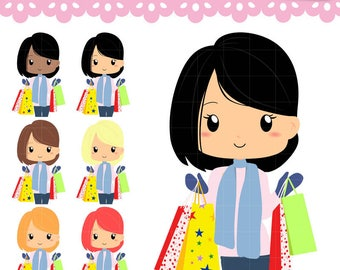 Chibi Girl shopping in Black Friday with winter clothes . Kawaii clipart set  for planner stickers, paperclips, papercrafts. Commercial use.