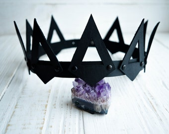 Leather Crown, King Crown, Queen Crown, Ajustable Crown, Women Crown