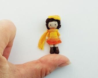 miniature OOAK Doll yellow-orange,Micro Mini Doll,Miniature Crochet Tiny doll OOAK tiny doll,collection tiny doll, Medvedsamorodok