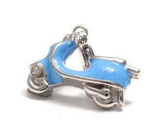 925 sterling Silver Charm pendant scooter in Vespa style
