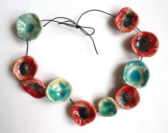 mixed floral beads, pottery flower beads, large handmade beads