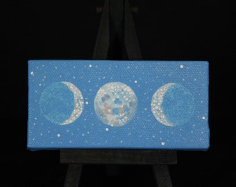 "Oil Painting - Sacred Feminine Moon in Twilight Sky, 2"" x 4"" Comes with mini black easel and magnet strips on back"
