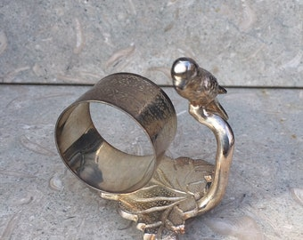 Vintage Victorian Repro Silver Plate Figural Napkin Ring Parrot