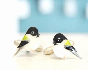 Chickadee cuff links. Coal tit Bird Cufflinks. Hand drawn cuff links. Mens accessories