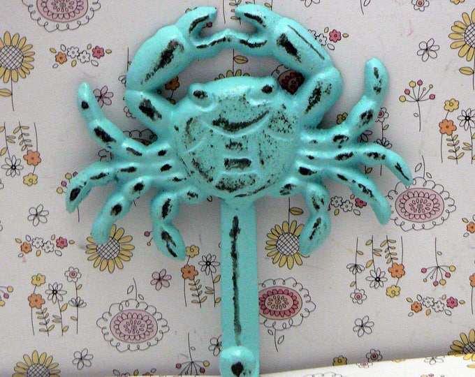Crab Cast Iron Wall Hook Shabby Chic Blue Cottage Chic Nautical Beach Home Decor