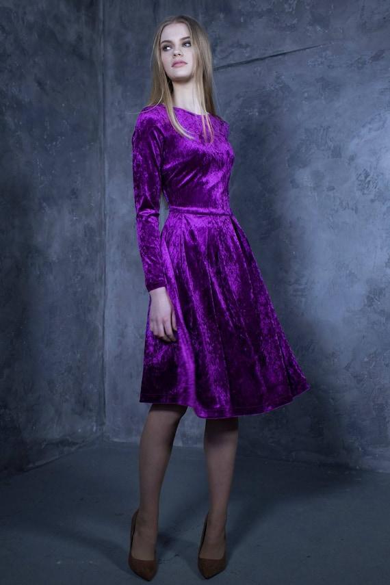 Velvet Dress Cocktail Dress Purple Dress Women Dress