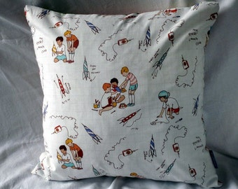 Playtime - Boys and Rockets - Cotton Cushion Cover