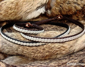 Sami Viking Necklace | Lambskin or Reindeer Leather Choker in Your Color and Size | LIDSKJALV Custom Handmade Norse Collar with Pewter Braid