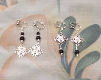 Double Black Jade Filigree Dangle ans Filigree Dome Black Faceted Glass Silver Clip On Earrings or Pierced