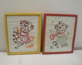 Vintage Framed Kitten & Bear Embroidery - Needlework