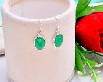 Dangle Earrings, 925 Silver Green Chalcedony Earrings Jewelry