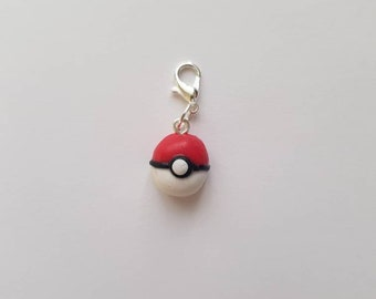 NEW POKEBALL Polymer clay stitch markers progress keepers or charm