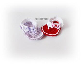 Crochet Baby Flip Flops, Newborn Sandals, Red Purple sandals, Red Baby Flip Flops, Summer Baby Shoes, Crochet Baby Sandles, Girl Sandles