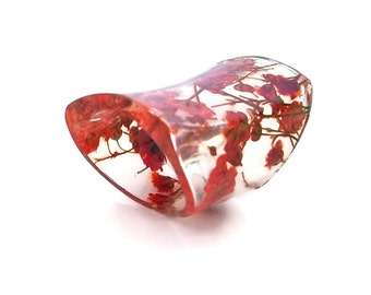 Extra Wide Resin Ring with Red Baby's Breath Flowers. Red Band Ring, Statement Ring, Cocktail Ring, Knuckle Ring. Eco Resin.  Bio Resin