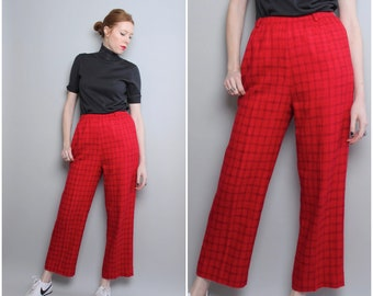 Red Plaid Pants / High Waist Pants / Slacks / Skimmers / Medium