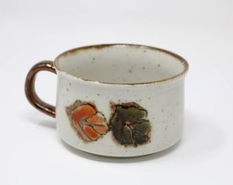 Leaf Print Vintage Ceramic Soup Mug