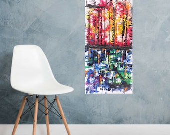 Original palette knife painting by MEDArts 30 x 15 Impasto Abstract Cityscape City Colorful Bulding blue red yellow green orange white