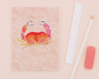 The Crab - Recycled Paper Notebook - Dotted pages - stationery - zodiac gift - Cancer gift - crab illustration