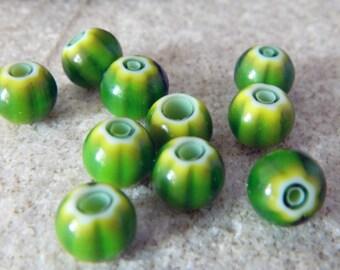 Green Chevron Glass Beads