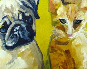 "Custom Pet Portrait DEPOSIT... Cat and Dog, Original Oil Painting, Home Decor, Fine Art, Milo and Otis... 11"" x 14"""