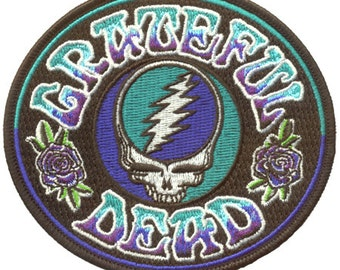 Grateful Dead Patch -Stealie Embroidered Patch/ Steal Your Face/ Psychedelic/ 13 point Lightning Bolt/ Roses
