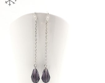 ARTEMIS / Purple Crystal and Silver Earrings, Shoulder Duster Crystal Earrings, Mother's Day Jewelry, Minimalist Jewelry, Gift For Her
