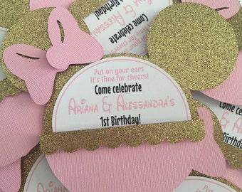 Pink and Gold Minnie invitations