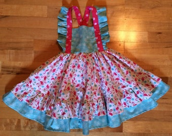 Winter Flamingos dress size 4