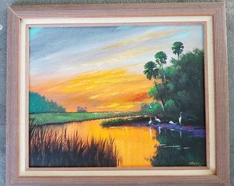 Original Painting Florida Landscape Art Tropical Painting South Florida Sunset white birds
