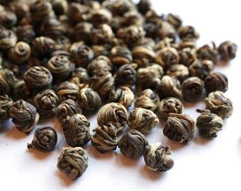Jasmine Pearls Green Tea. Loose Leaf Green Tea. All Natural.