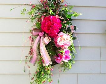 pink hydrangea Spring wreath for front door, Mothers Day Wreath, teardrop door swag, cottage wreath, spring summer swag, front porch decor