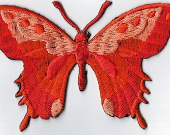Rust orange Butterfly embroidered iron or sew patch. Applique Patch 7.5 x 5.5 cm
