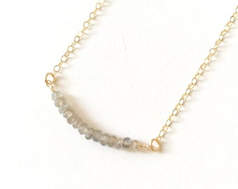 SIMPLE gemstone bar necklace, layering gold necklace, bridesmaid necklace, bridesmaid gift, something blue, ocean jewelry