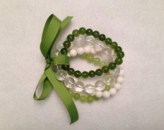 Bracelet Bundle - Green and White Theme