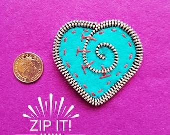 Handmade Heart Zipper Brooch made from Felt and Metal Zips