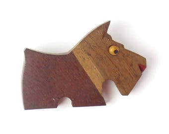 Vintage wood brooch pin Scottie dog Scottish Terrier animal brown