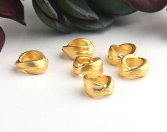 Gold Plated Large Hole Slider Beads, Tubular Beads, Organic Tube Beads, 6 pieces // GB-245