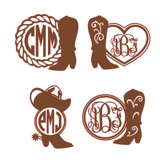 Cowgirl Boot Monogram Vinyl Decal Country Girl Monogram Car - Country girl custom vinyl decals for trucks